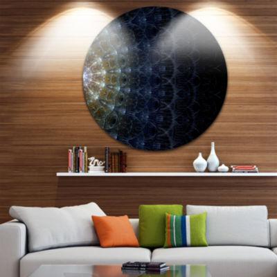 Design Art Symmetrical Blue Silver Fractal FlowerDisc Large Contemporary Circle Metal Wall Arts