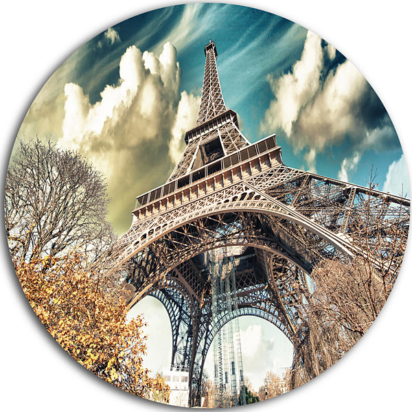 Design Art Street View of Paris Eiffel Tower DiscCityscape Contemporary Circle Metal Wall Art