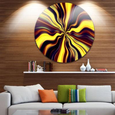Design Art Yellow Purple Black Fantasy Abstract Circle Circle Metal Wall Art