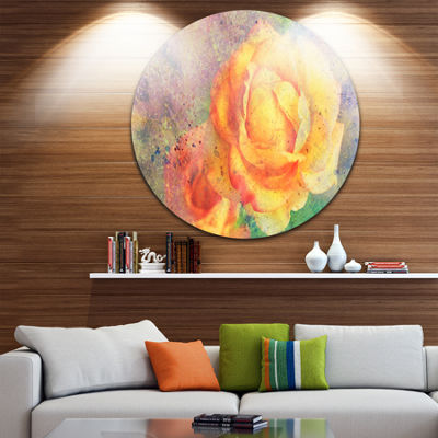 Design Art Yellow Rose Watercolor Floral Circle Metal Wall Art