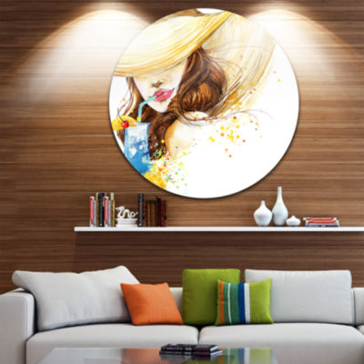 Design Art Woman with Fruit Cocktail Abstract Metal Circle Wall Art