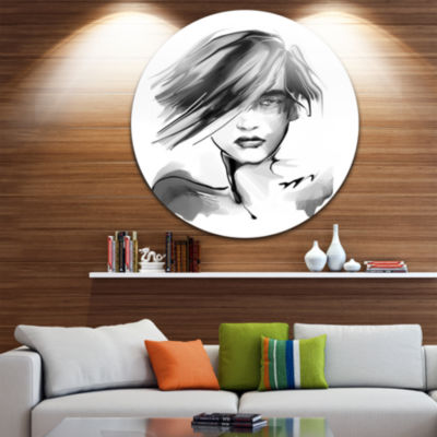 Design Art Young Woman Black White Abstract Portrait Circle Metal Wall Art