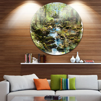 Design Art Stream in the Forest Landscape PaintingCircle Metal Wall Art