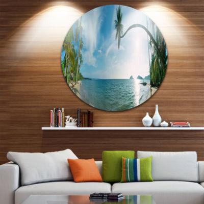 Design Art Tropical Beach Panorama Disc Photography Circle Metal Wall Art