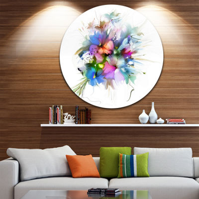 Design Art Summer Colorful Flowers Disc WatercolorPainting Circle Metal Wall Art