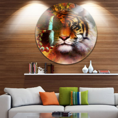 Design Art Tiger with Butterfly Wings Animal Circle Metal Wall Art