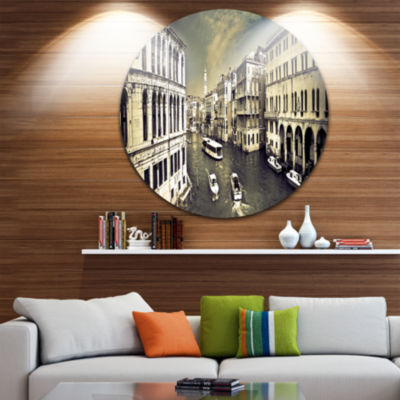 Design Art Venice Cityscape Disc Photography Circle Metal Wall Art