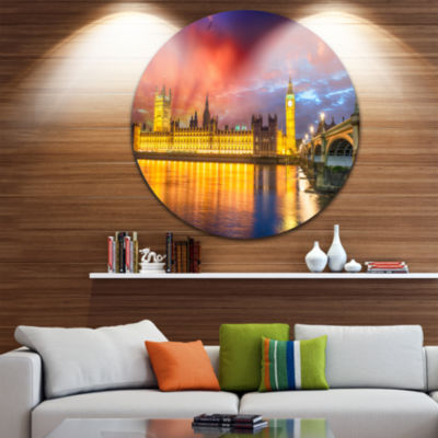 Design Art Sunset View of London Skyline CityscapePhoto Circle Metal Wall Art