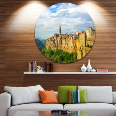 Design Art Tuscany Pitigliano Medieval Village Disc Photography Circle Metal Wall Art