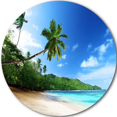 Design Art Sunset Beach with Palm Disc Large Landscape Photography Circle Metal Wall Art