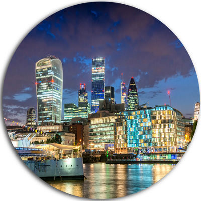Design Art Thames River at Night Disc Cityscape Photography Circle Metal Wall Art