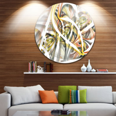 Design Art Symmetrical Spiral Fractal Flowers DiscContemporary Art On Circle Metal Wall Art