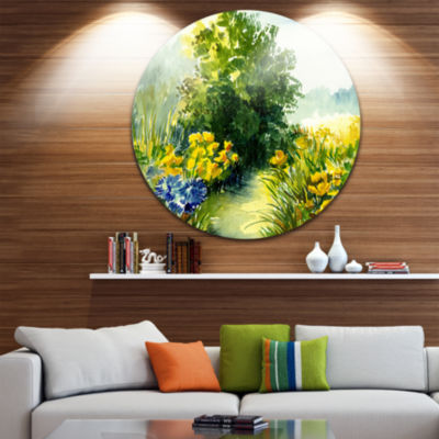 Design Art Watercolor Greenery Landscape Circle Metal Wall Art