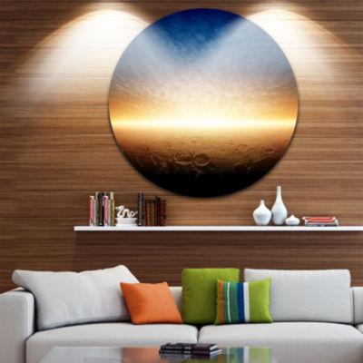 Design Art Sunset on Planet Mars Spacescape CircleMetal Wall Art