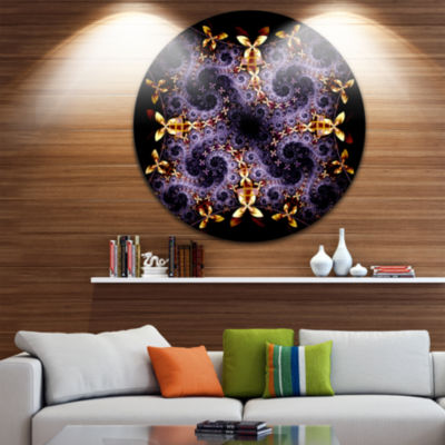 Design Art Yellow and Violet Fractal Flower Abstract Round Circle Metal Wall Decor Panel