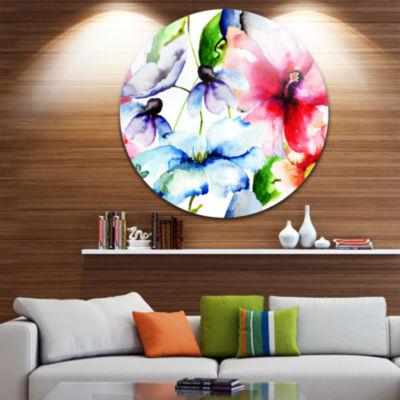 Design Art Watercolor Flowers Everywhere Floral Circle Metal Wall Art