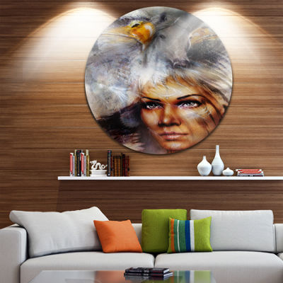 Design Art Woman with Flying Eagles Disc PortraitCircle Metal Wall Art