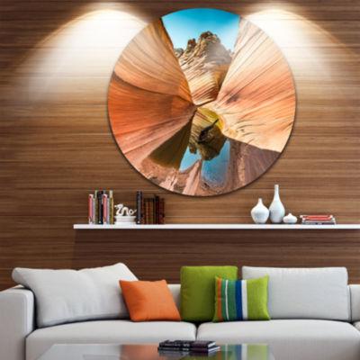 Design Art Water inside Arizona Wave Disc Landscape Photography Circle Metal Wall Art