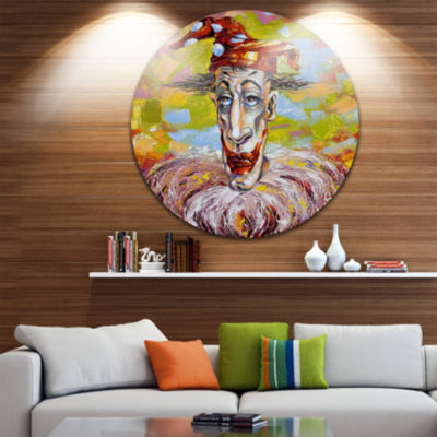 Design Art Wood River on a Decline Landscape Circle Metal Wall Art