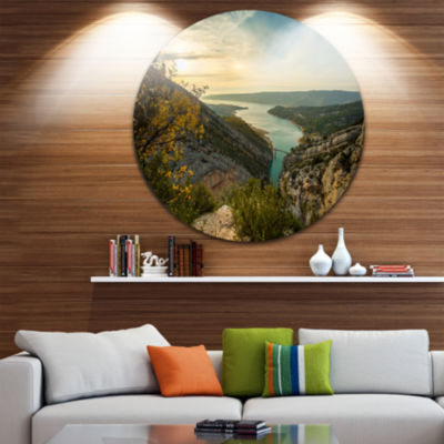 Design Art View of Gorges du Verdon France Disc Photography Circle Metal Wall Art