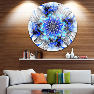Design Art Symmetrical Blue Fractal Flower Abstract Round Circle Metal Wall Decor Panel