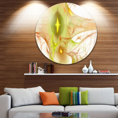 Design Art Yellow Bright Candle Abstract Circle Metal Wall Art