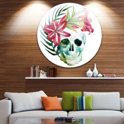 Design Art Watercolor Skull with Flowers Disc Floral Circle Metal Wall Art