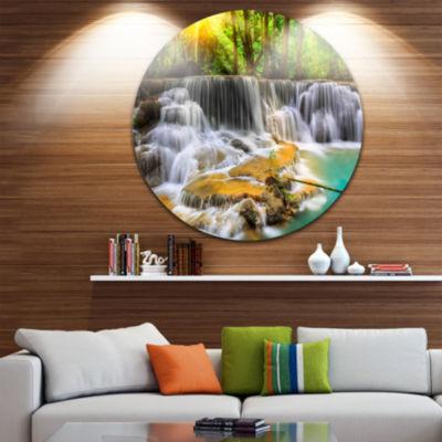 Design Art Wide View of Erawan Waterfall Disc Landscape Circle Metal Wall Art
