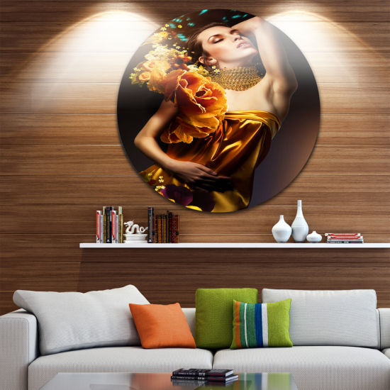 Design Art Woman in Yellow Dress Disc ContemporaryPortrait Circle Metal Wall Art
