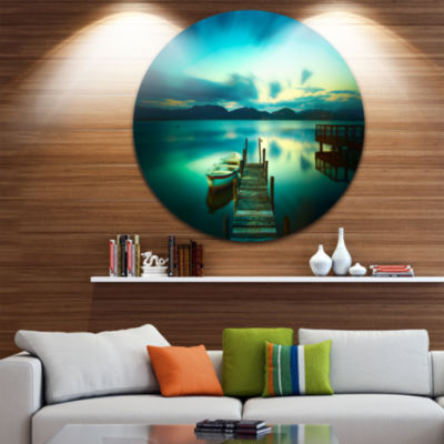 Design Art Wooden Jetty and Boat in Sea Seascape Circle Metal Wall Art