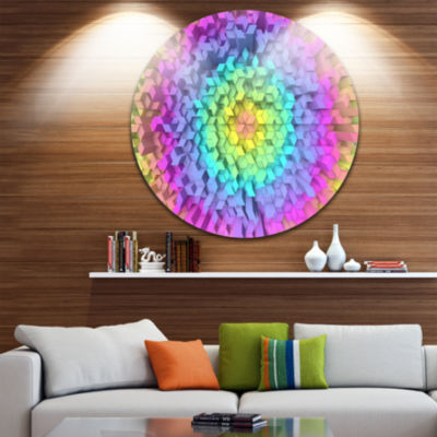 Design Art View of Colorful Geometric Shapes Abstract Art on Round Circle Metal Wall Decor Panel