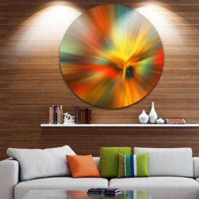 Design Art Yellow Focus Color Abstract Circle Metal Wall Art