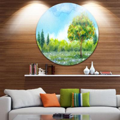 Design Art Tree in Spring Disc Watercolor PaintingLandscape Circle Metal Wall Art