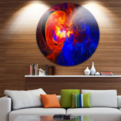 Design Art Sunrise on a Distant Planet Disc Abstract Circle Metal Wall Art