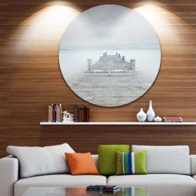 Design Art Wooden Pier in Cloudy Mood Seascape Circle Metal Wall Art