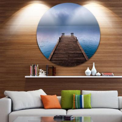 Design Art Wooden Pier under Foggy Sky Seascape Circle Metal Wall Art
