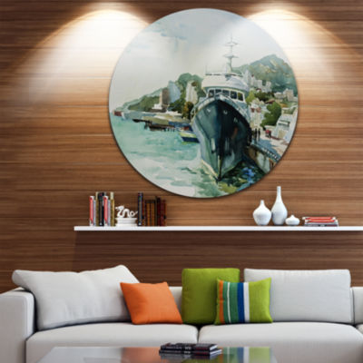 Design Art Yacht in Port Yalta Disc Landscape Circle Metal Wall Art