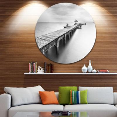 Design Art Wooden Sea Bridge Seascape PhotographyCircle Metal Wall Art