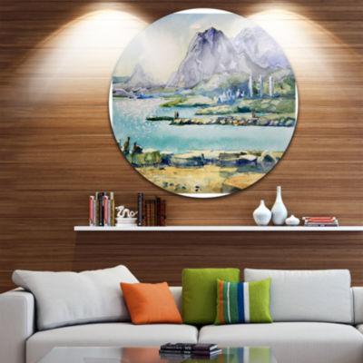 Design Art Watercolor Blue Hills Landscape CircleMetal Wall Art