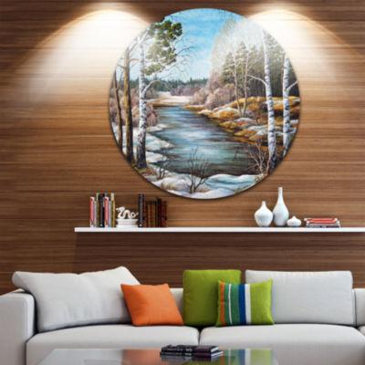 Design Art The spring Siberian River Landscape Circle Metal Wall Art