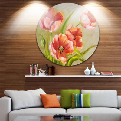 Design Art Vintage Red Tulips Floral Circle MetalWall Art
