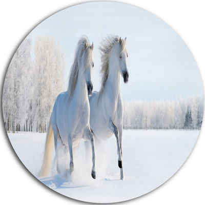 Design Art Two Galloping White Ponies Disc Large Animal Circle Metal Wall Art