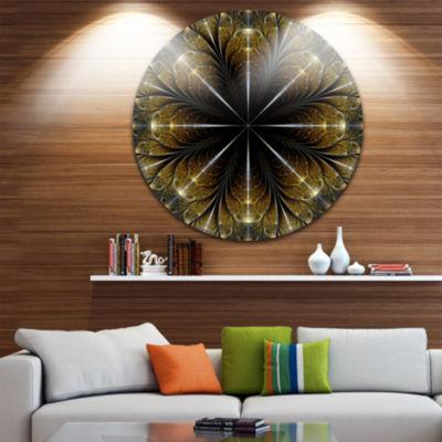 Design Art Symmetrical Gold Fractal Flower Abstract Round Circle Metal Wall Decor