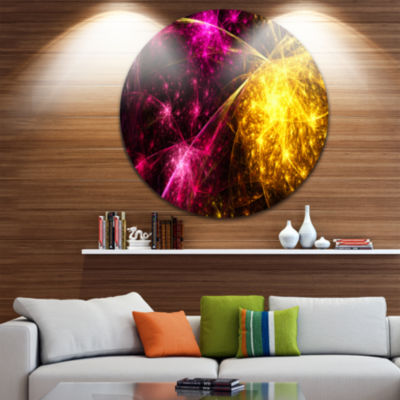 Design Art Yellow Pink Colorful Fireworks AbstractRound Circle Metal Wall Decor