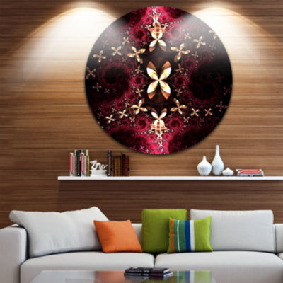 Design Art Yellow Red Fractal Flower Pattern Abstract Round Circle Metal Wall Decor