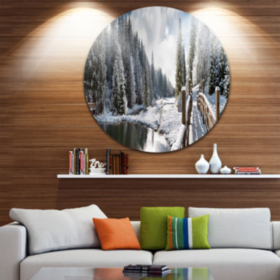 Design Art Winter Morning Panorama Landscape Photography Circle Metal Wall Art