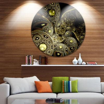 Design Art Symmetrical Gold Fractal Flower Disc Floral Circle Metal Wall Art