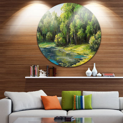 Design Art Summer Day Lake in Forest Landscape Metal Circle Wall Art