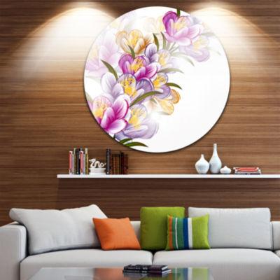 Design Art Vector Purple Flowers Floral Metal Circle Wall Art