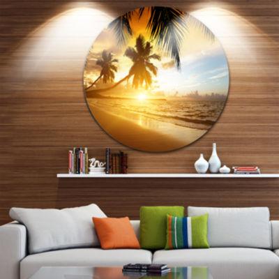 Design Art Sunset over Caribbean Sea Disc Photography Circle Metal Wall Art